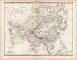 Ázsia térkép 1883, eredeti, atlasz, Keith Johnston, angol, 36 x 47 cm, India, Kína, Tibet, Japán