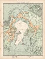 Északi sarkvidék térkép 1883, eredeti, atlasz, Keith Johnston, angol, 36 x 48 cm, Grönland, Izland