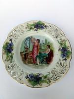 Antik családipecsétes Zsolnay áttört ibolyás zsánerjelenetes tányér