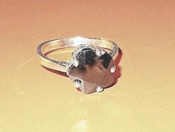 Virág Onix köves 925 ezüst - fehérarany Gyűrű 7-es