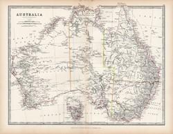 Ausztrália térkép 1883, eredeti, atlasz, Keith Johnston, angol, 36 x 47 cm, Óceánia, Tasmania, régi
