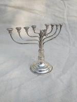 Antik Magyar ezüst Judeika Menóra (gyertyatartó)