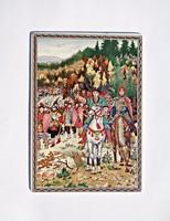 Pécsi porcelán kép, népvándorlás kori jelenet.
