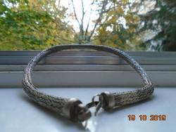 Divatos Ezüstös színű vastagabb fonott fém Kötél  nyaklánc