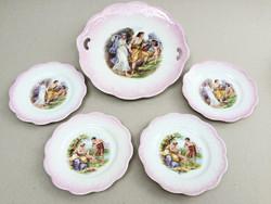 Jelenetes régi porcelán irizáló desszertes tányér 5 db