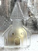 Üveg templom karácsonyi dekoráció, levélnehezék