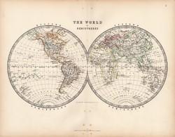 Világtérkép 1883, eredeti, atlasz, Keith Johnston, angol, 36 x 47 cm, térkép, félteke, félgömb, Föld