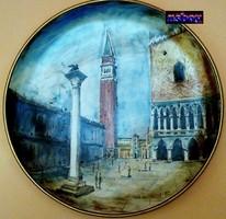 Falitányér Capodimonte műhelyéből: Velence Szent Márk tér, szignált műtárgy