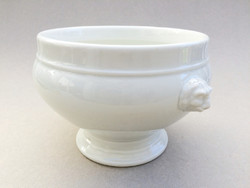 Régi porcelán talpas oroszlánfejes leveses tál