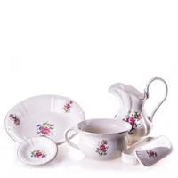 Angol kerámia mosakodó készlet (fehér - virágmintás)