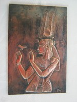 Jelzett egyiptomi fáraós domborított réz kép fali dísz