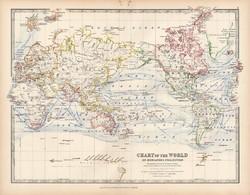 Világtérkép 1883, eredeti, atlasz, Keith Johnston, angol, 36 x 47 cm, térkép, Mercator, projekció