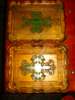 2 db barokk  firenzei, florentin fa  tálca arany és  zöld