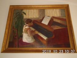 """Virág Mihály (1930 - 2013): """"Kislány a zongoránál"""" 1959"""