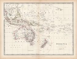 Óceánia térkép 1883, eredeti, atlasz, Keith Johnston, angol, 36 x 47 cm, Ausztrália, Polinézia, régi