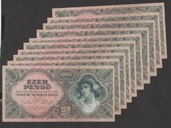 1000 pengő 1945.  10 db sorszám követő! TÖKÉLETES UNC!