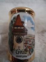 Porcelán -  SÓSZÓRÓ - aranyozott - korsó - grazi szuvenír - 6.5 x 5 x 3 cm
