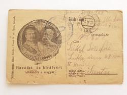 Régi képeslap I. vh.1916 tábori posta levelezőlap honvéd gyalogezred bélyegző
