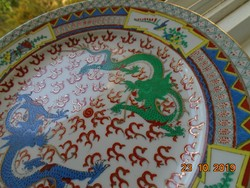 Kézzel Aranyozott két sárkányos tányér, madár és pillangós perem, Zhongguo Zhi Zao '60 évek