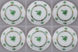 6db Herendi zöld Apponyi mintás kis süteményes tányér