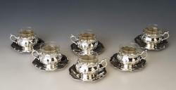 Ezüst 6 személyes VIRÁG FORMA kávés  készlet