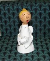 Éneklő Angyal  mázas kerámia figura, gyertyatartó
