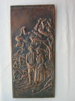 Jelzett domborított réz kép fali dísz