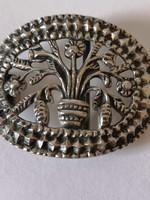 Ezüst virágkosár övcsat / Silver flower basket belt buckle