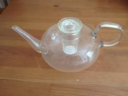 Régi Bauhaus hőálló üveg Jénai teáskancsó kivehető eredeti szűrőbetéttel