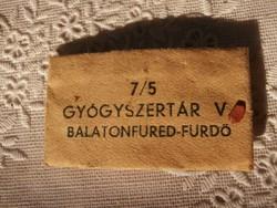 Gyógyszertári tasak - Balatonfüred-Fürdő