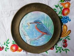 Keramik fali tányér réz keretben jelzett