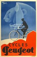 Cycles Peugeot kerékpár/bicikli reklám, oroszlán. Roger Pérot 1931. Vintage/antik plakát reprint