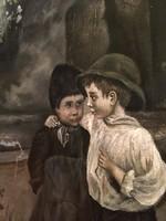 ML szignós kedves régi festmény