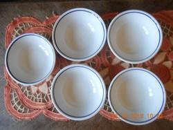 Zsolnay retro kék csíkos kocsonyás, gulyásos tányér 5 db