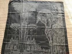 Művészi grafikával nyomott selyemkendő, Art Foulard kendő, 88 x 88 cm
