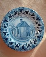 Delfti porcelán fali tál, 23 cm átmérőjű