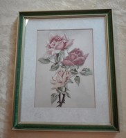Antik, hímzett selyemkép, 32,5 x 27 cm