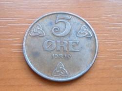 NORVÉGIA 5 ŐRE 1940 #