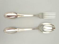 Gyönyörű ezüst szervírozó kanál-villa szett 159 g