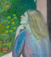 Ablakon kitekintő nő, akit az ördög megkísért, modern Expresszionista stílusban készült mű.