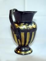 Kis réz kancsó kiöntő fekete alapon arany mintával India 80-as évek 14cm kézzel készített