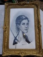 Nagy tusrajz, portré egy gyönyörű nőről, blondell keretben, üveg mögött, 69*43 cm!