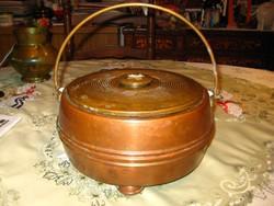 Antik forró víz tároló  ,vörös és sárga rézből  26x14 cm  ,szép patinás tárgy
