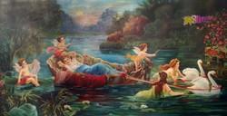 Varázslatos csónakázás, Hermann Halbweis, német festő alkotása 1929-ből, keretezve.