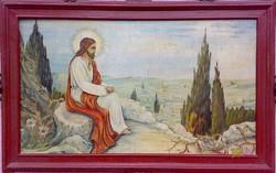 Jézus az olajfák hegyén, olajfestmény szignóval furnér lemezen