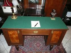 Picike, kecses, női, antik szecessziós íróasztal új valódi gyapjú betéttel, topolya berakással