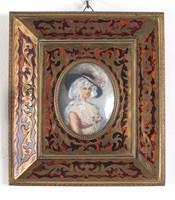 Miniatűr, fa keret réz dísszel . Vegyes technikai festett  női portré.