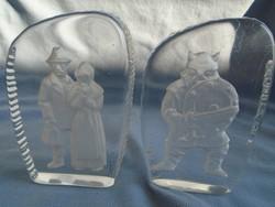 2 db skandináv üveg disz vagy üveg nehezék nagyobb méretűek komoly súly