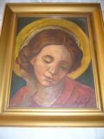 Sz.J.: Szent, 17x22 cm, olaj-vászon