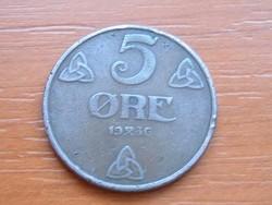 NORVÉGIA 5 ŐRE 1936 #